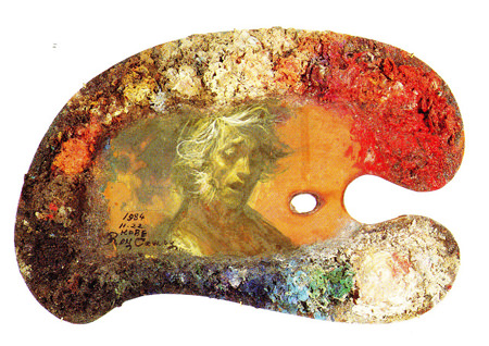 tam-201311-画家とパレット ~巨匠たちの創作のひみつ~-鴨居玲「パレット」笠間日動美術館所蔵