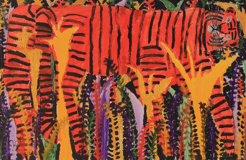 tam-We?TAGAWA 私の愛する〝田川〟展-ミロコマチコ「赤いトラ」